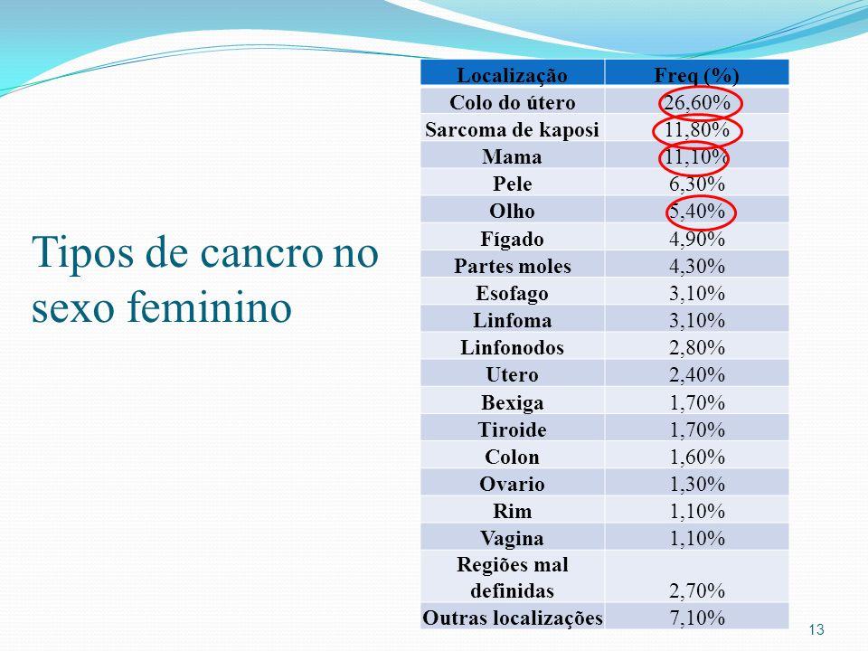 Tipos de cancro no sexo feminino 13 LocalizaçãoFreq (%) Colo do útero26,60% Sarcoma de kaposi11,80% Mama11,10% Pele6,30% Olho5,40% Fígado4,90% Partes moles4,30% Esofago3,10% Linfoma3,10% Linfonodos2,80% Utero2,40% Bexiga1,70% Tiroide1,70% Colon1,60% Ovario1,30% Rim1,10% Vagina1,10% Regiões mal definidas2,70% Outras localizações7,10%