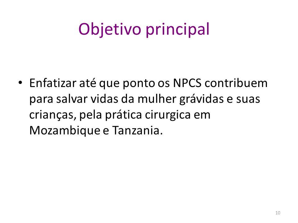 Objetivo principal Enfatizar até que ponto os NPCS contribuem para salvar vidas da mulher grávidas e suas crianças, pela prática cirurgica em Mozambiq