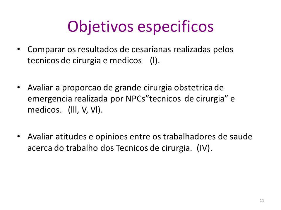 Objetivos especificos Comparar os resultados de cesarianas realizadas pelos tecnicos de cirurgia e medicos (l). Avaliar a proporcao de grande cirurgia