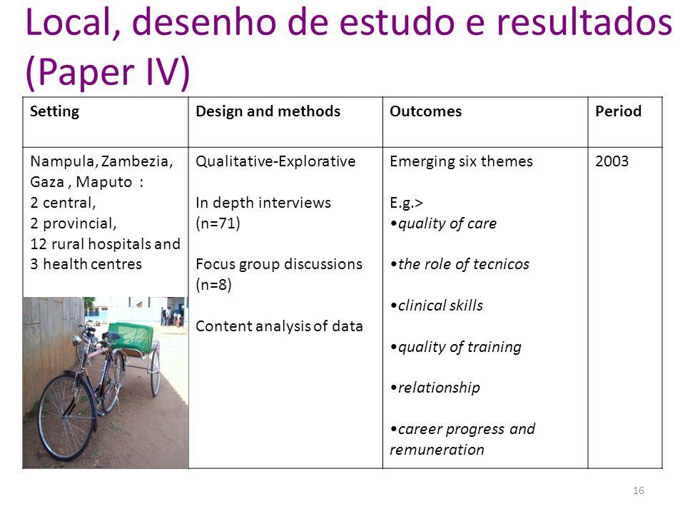 Local, desenho de estudo e resultados (Paper IV) SettingDesign and methodsOutcomesPeriod Nampula, Zambezia, Gaza, Maputo : 2 central, 2 provincial, 12