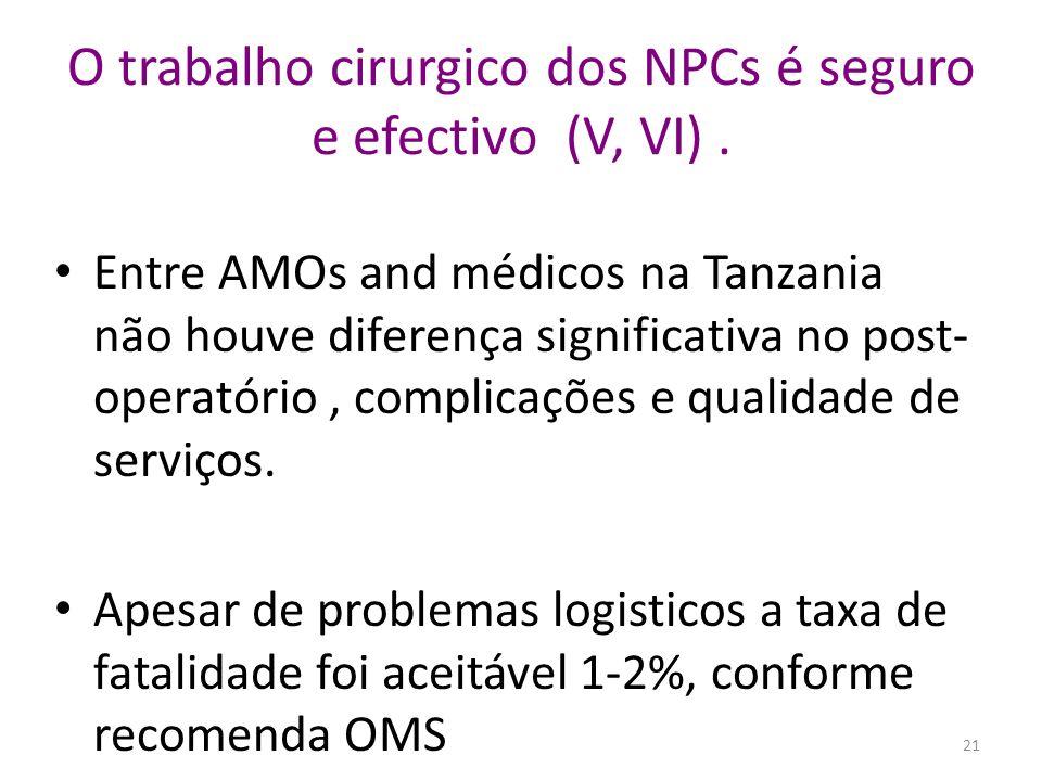 O trabalho cirurgico dos NPCs é seguro e efectivo (V, VI). Entre AMOs and médicos na Tanzania não houve diferença significativa no post- operatório, c