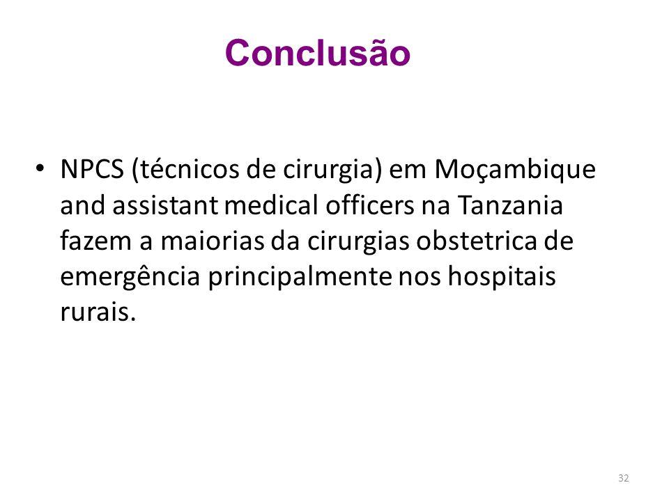 NPCS (técnicos de cirurgia) em Moçambique and assistant medical officers na Tanzania fazem a maiorias da cirurgias obstetrica de emergência principalm