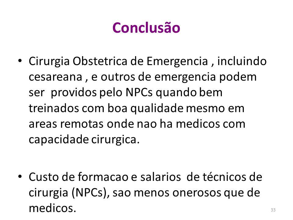 Cirurgia Obstetrica de Emergencia, incluindo cesareana, e outros de emergencia podem ser providos pelo NPCs quando bem treinados com boa qualidade mes