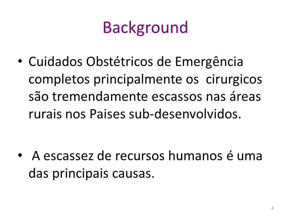 Background Cuidados Obstétricos de Emergência completos principalmente os cirurgicos são tremendamente escassos nas áreas rurais nos Paises sub-desenv