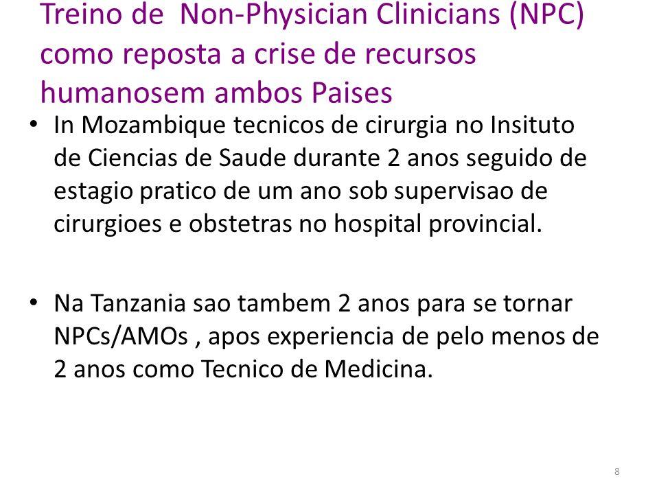 Non-Physician Clinicians (NPCs) são parte importante na política governamental Treino dos NPCs is considerado uma prioridade pelos Minstérios da Saúde de Moçambique e Tanzania, porque eles mantem o sistema de saúde e são a espinha dorsal para cuidados cirurgicos obstétricos de emergência, principalmente nos hospitais rurais.