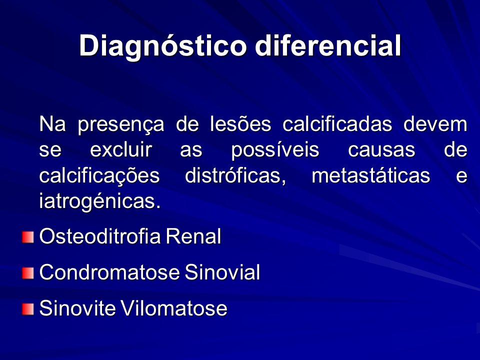 Diagnóstico diferencial Na presença de lesões calcificadas devem se excluir as possíveis causas de calcificações distróficas, metastáticas e iatrogénicas.