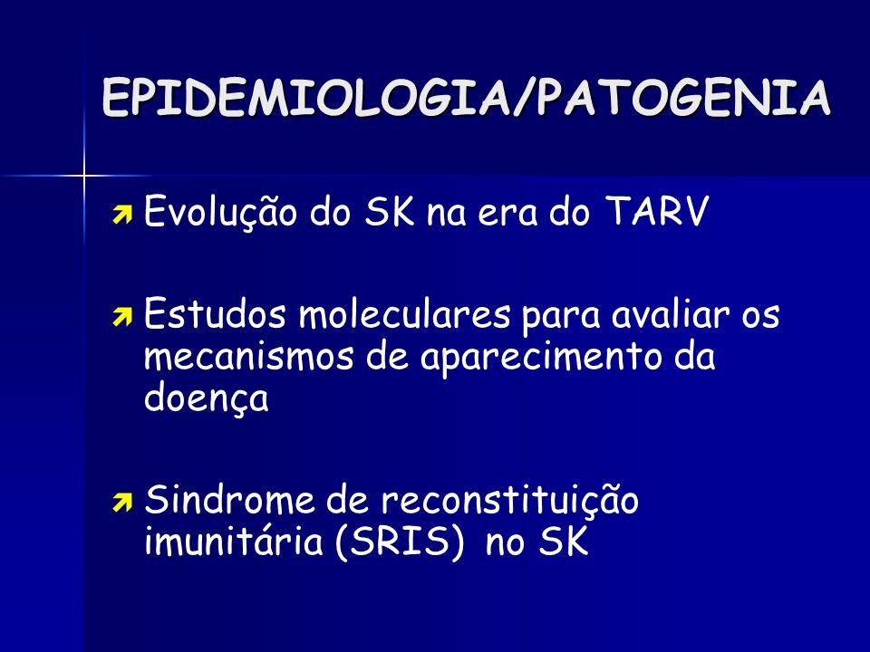 EPIDEMIOLOGIA/PATOGENIA Evolução do SK na era do TARV Estudos moleculares para avaliar os mecanismos de aparecimento da doença Sindrome de reconstitui