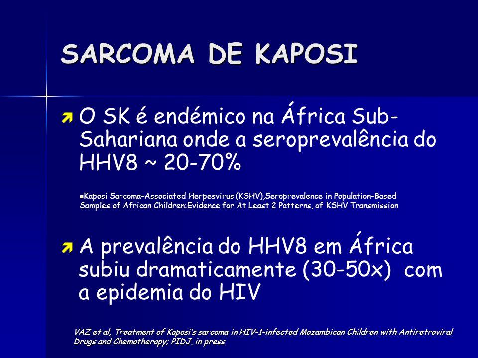 SARCOMA DE KAPOSI O SK é endémico na África Sub- Sahariana onde a seroprevalência do HHV8 ~ 20-70% A prevalência do HHV8 em África subiu dramaticament