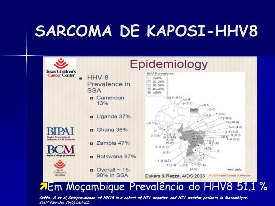 SARCOMA DE KAPOSI-HHV8 Em Moçambique Prevalência do HHV8 51.1 % Ceffa. S et al,Seroprevalence of HHV8 in a cohort of HIV-negative and HIV-positive pat