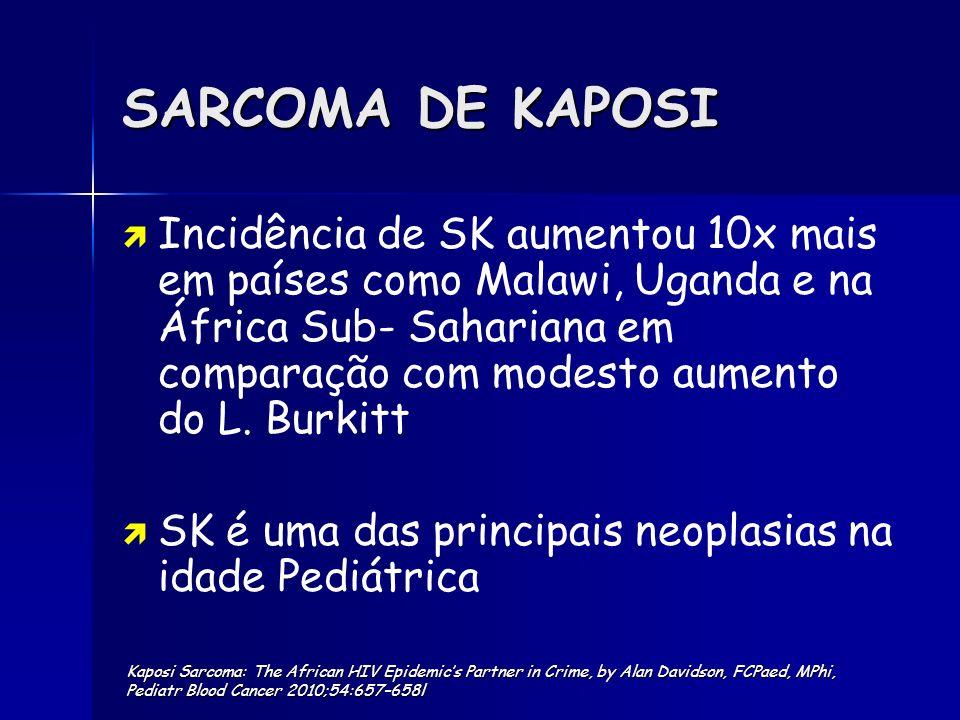 SARCOMA DE KAPOSI Incidência de SK aumentou 10x mais em países como Malawi, Uganda e na África Sub- Sahariana em comparação com modesto aumento do L.