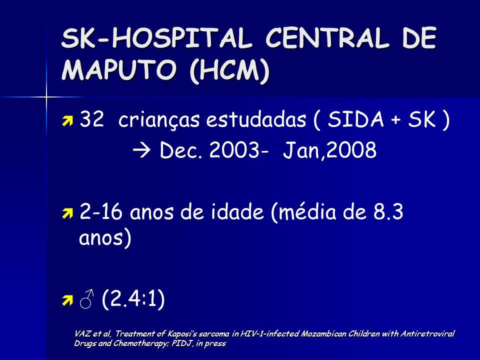 SK-HOSPITAL CENTRAL DE MAPUTO (HCM) 32 crianças estudadas ( SIDA + SK ) Dec. 2003- Jan,2008 2-16 anos de idade (média de 8.3 anos) (2.4:1) VAZ et al,