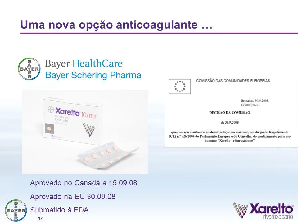12 Uma nova opção anticoagulante … Aprovado no Canadá a 15.09.08 Aprovado na EU 30.09.08 Submetido à FDA