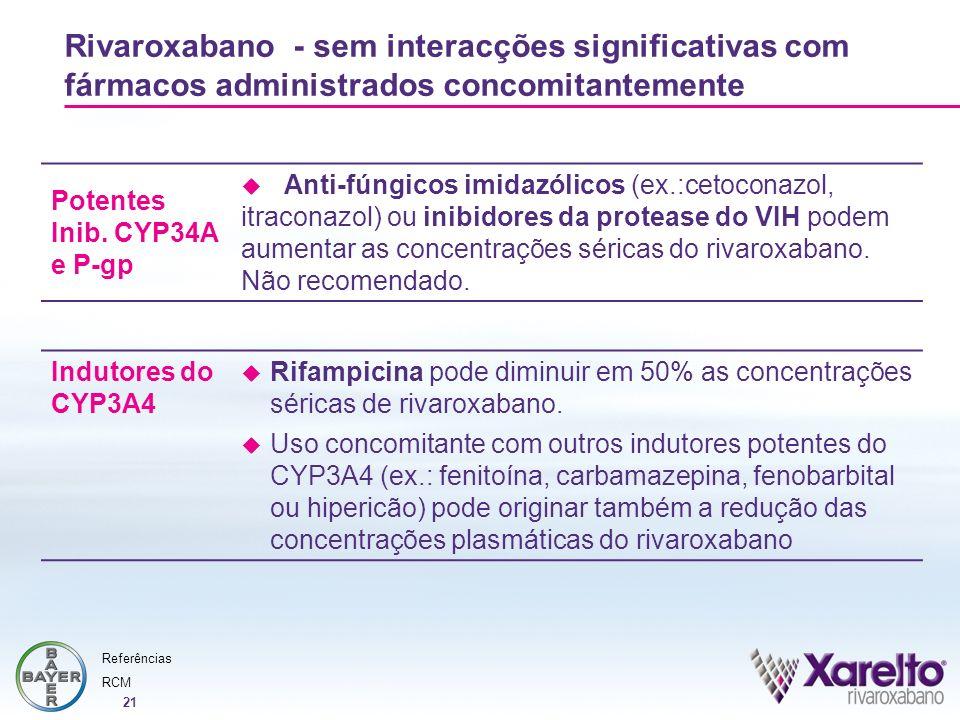 21 Rivaroxabano - sem interacções significativas com fármacos administrados concomitantemente Potentes Inib. CYP34A e P-gp Anti-fúngicos imidazólicos