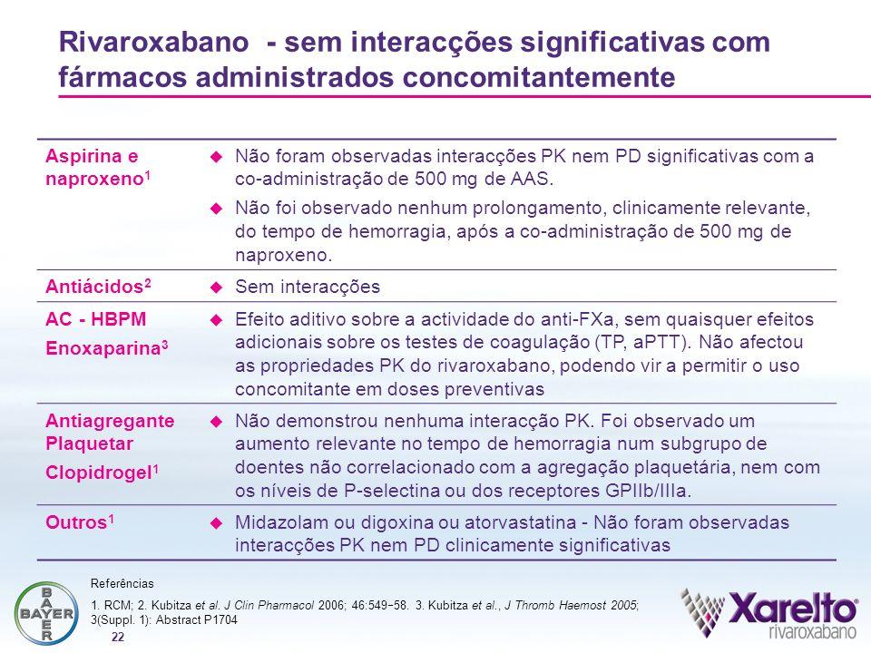 22 Rivaroxabano - sem interacções significativas com fármacos administrados concomitantemente Aspirina e naproxeno 1 Não foram observadas interacções