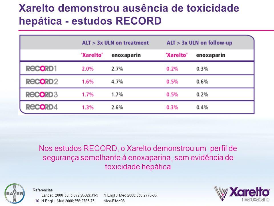 36 Xarelto demonstrou ausência de toxicidade hepática - estudos RECORD Nos estudos RECORD, o Xarelto demonstrou um perfil de segurança semelhante à en