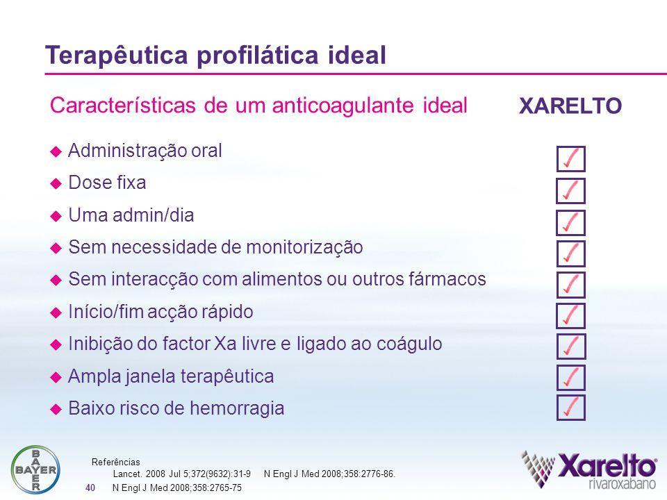 40 Características de um anticoagulante ideal Terapêutica profilática ideal Administração oral Dose fixa Uma admin/dia Sem necessidade de monitorizaçã