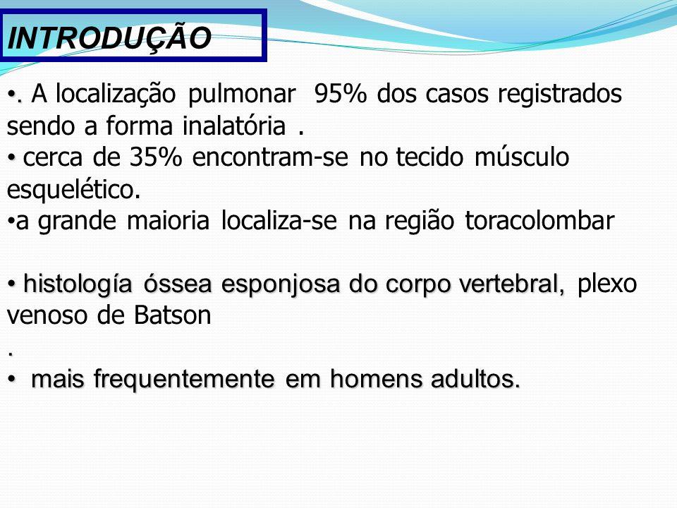 .. A localização pulmonar 95% dos casos registrados sendo a forma inalatória. cerca de 35% encontram-se no tecido músculo esquelético. a grande maiori