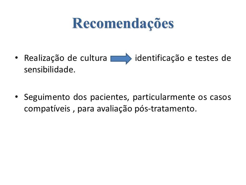 Recomendações Realização de cultura identificação e testes de sensibilidade. Seguimento dos pacientes, particularmente os casos compatíveis, para aval