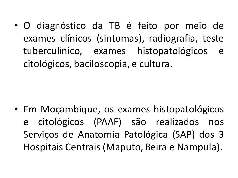 O diagnóstico da TB é feito por meio de exames clínicos (sintomas), radiografia, teste tuberculínico, exames histopatológicos e citológicos, bacilosco