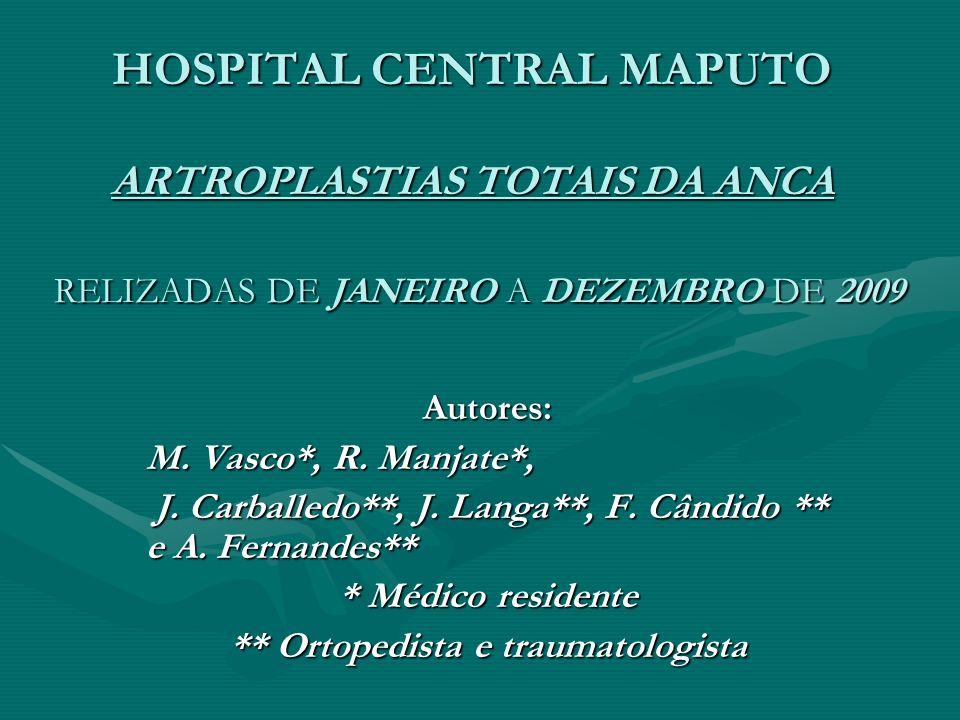 HOSPITAL CENTRAL MAPUTO ARTROPLASTIAS TOTAIS DA ANCA RELIZADAS DE JANEIRO A DEZEMBRO DE 2009 Autores: M. Vasco*, R. Manjate*, J. Carballedo**, J. Lang