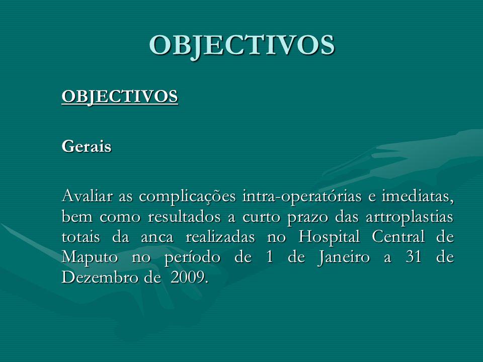 EspecíficosDeterminar: 1.Complicações intra-operatórias.