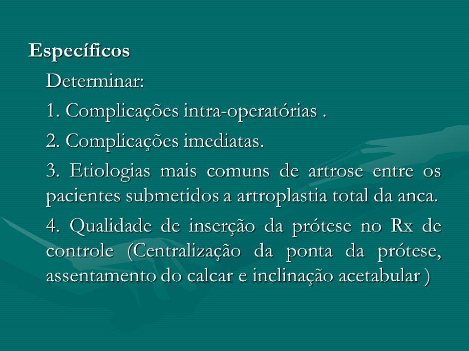EspecíficosDeterminar: 1. Complicações intra-operatórias. 2. Complicações imediatas. 3. Etiologias mais comuns de artrose entre os pacientes submetido