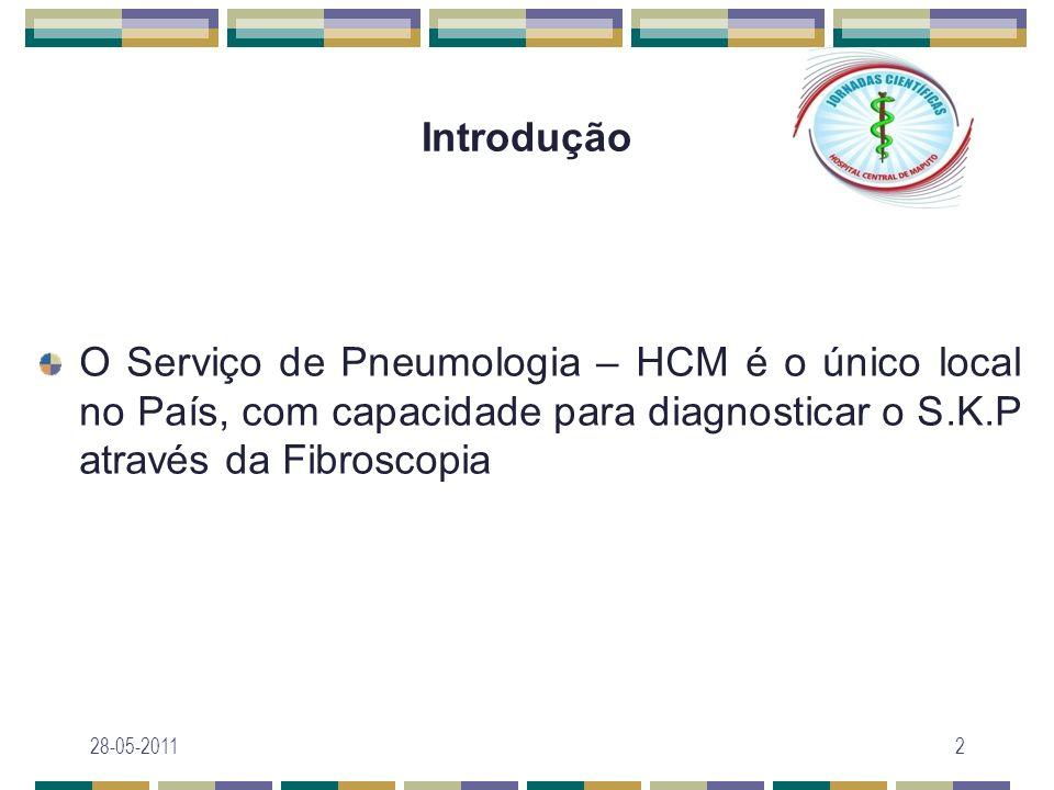 Objectivo geral Descrever as características clínicas e laboratoriais dos casos de SK pulmonar diagnosticados por fibroscopia no período de 2007 a 2009 28-05-20113