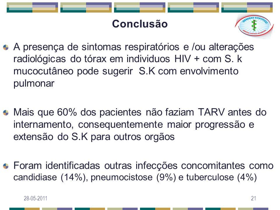 Conclusão A presença de sintomas respiratórios e /ou alterações radiológicas do tórax em individuos HIV + com S. k mucocutâneo pode sugerir S.K com en