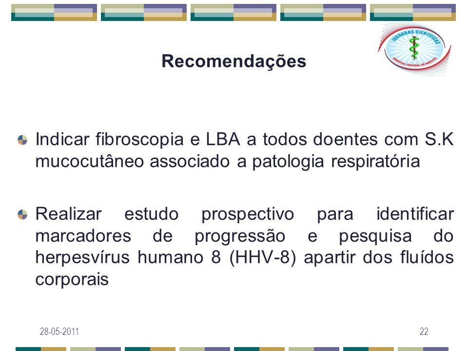 Recomendações Indicar fibroscopia e LBA a todos doentes com S.K mucocutâneo associado a patologia respiratória Realizar estudo prospectivo para identi