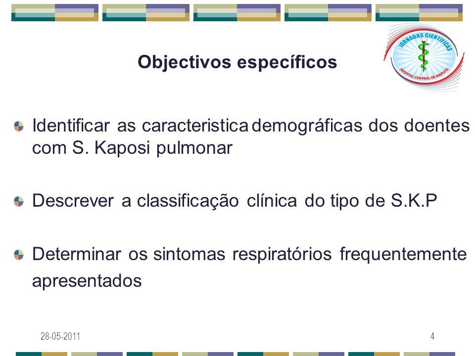 Objectivos específicos Associar características laboratoriais e padrão de progressão do S.K.P Determinar o padrão radiológico Identificar as infecções concomitantes 28-05-20115