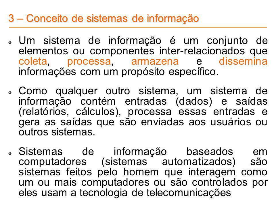 3 – Conceito de sistemas de informação Um sistema de informação é um conjunto de elementos ou componentes inter-relacionados que coleta, processa, arm