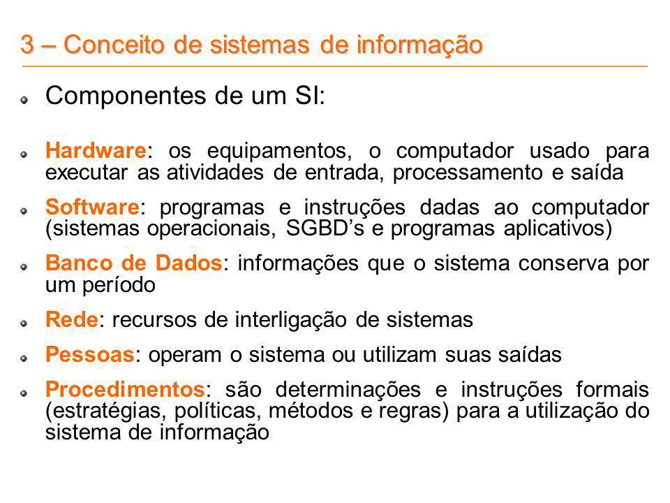 3 – Conceito de sistemas de informação Componentes de um SI: : Hardware: os equipamentos, o computador usado para executar as atividades de entrada, p