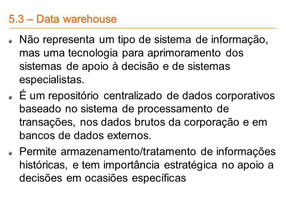 5.3 – Data warehouse Não representa um tipo de sistema de informação, mas uma tecnologia para aprimoramento dos sistemas de apoio à decisão e de siste