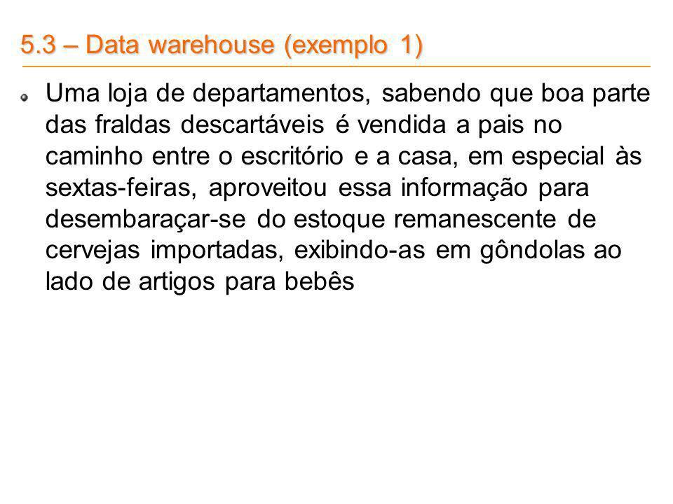 5.3 – Data warehouse (exemplo 1) Uma loja de departamentos, sabendo que boa parte das fraldas descartáveis é vendida a pais no caminho entre o escritó