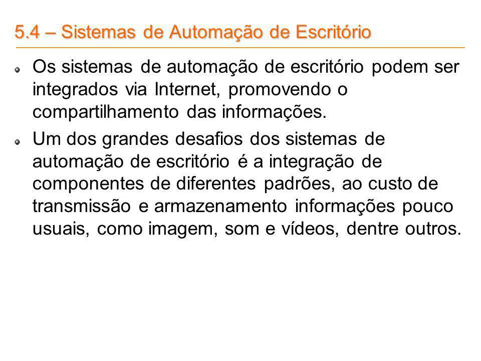 5.4 – Sistemas de Automação de Escritório Os sistemas de automação de escritório podem ser integrados via Internet, promovendo o compartilhamento das
