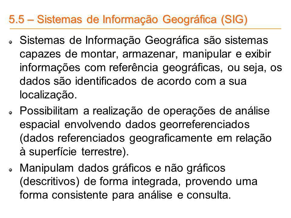 5.5 – Sistemas de Informação Geográfica (SIG) Sistemas de Informação Geográfica são sistemas capazes de montar, armazenar, manipular e exibir informaç