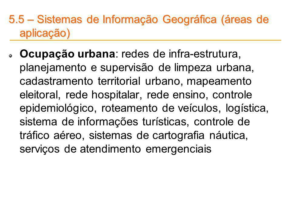 5.5 – Sistemas de Informação Geográfica (áreas de aplicação) Ocupação urbana: redes de infra-estrutura, planejamento e supervisão de limpeza urbana, c