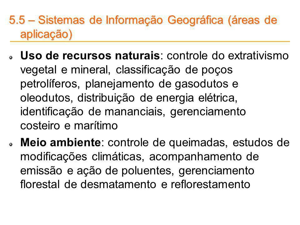 5.5 – Sistemas de Informação Geográfica (áreas de aplicação) Uso de recursos naturais: controle do extrativismo vegetal e mineral, classificação de po