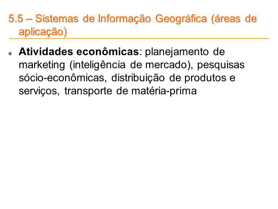5.5 – Sistemas de Informação Geográfica (áreas de aplicação) Atividades econômicas: planejamento de marketing (inteligência de mercado), pesquisas sóc