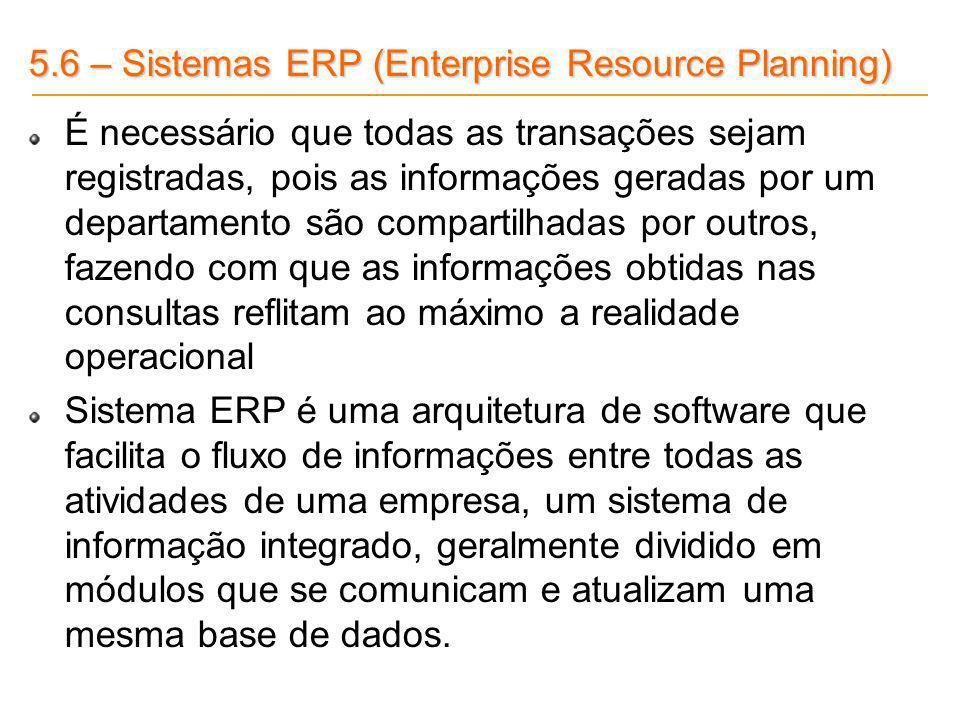 5.6 – Sistemas ERP (Enterprise Resource Planning) É necessário que todas as transações sejam registradas, pois as informações geradas por um departame
