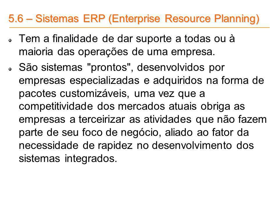 5.6 – Sistemas ERP (Enterprise Resource Planning) Tem a finalidade de dar suporte a todas ou à maioria das operações de uma empresa. São sistemas
