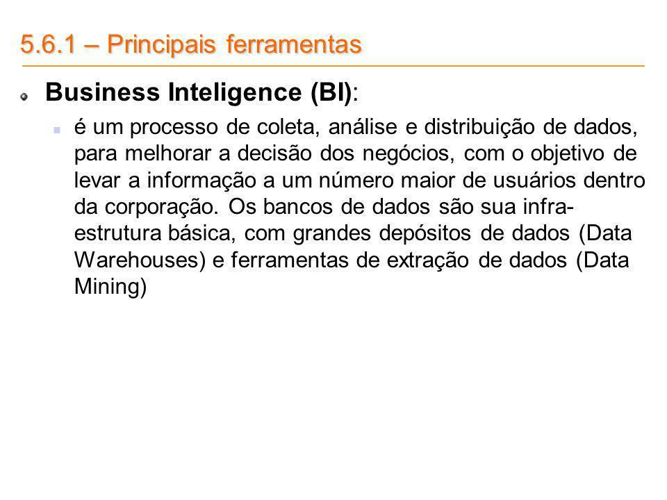 5.6.1 – Principais ferramentas Business Inteligence (BI): é um processo de coleta, análise e distribuição de dados, para melhorar a decisão dos negóci