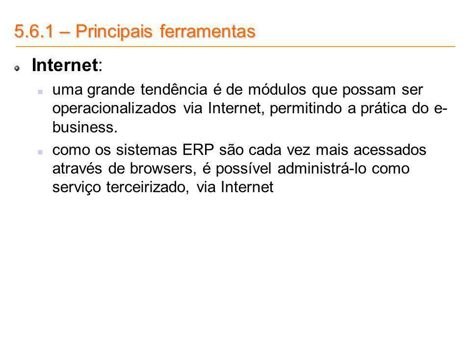 5.6.1 – Principais ferramentas Internet: uma grande tendência é de módulos que possam ser operacionalizados via Internet, permitindo a prática do e- b