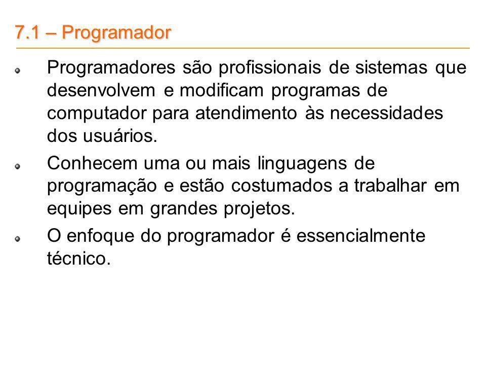 7.1 – Programador Programadores são profissionais de sistemas que desenvolvem e modificam programas de computador para atendimento às necessidades dos