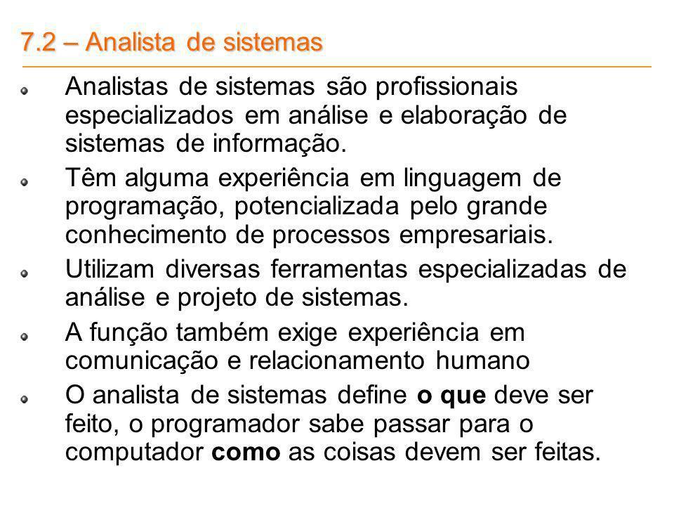 7.2 – Analista de sistemas Analistas de sistemas são profissionais especializados em análise e elaboração de sistemas de informação. Têm alguma experi