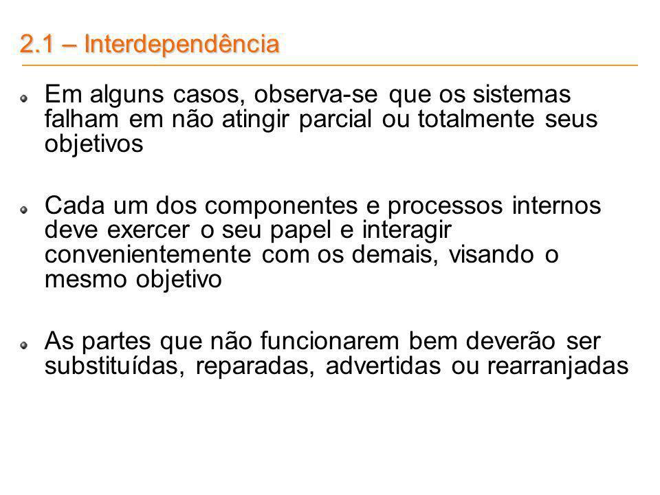 2.1 – Interdependência Em alguns casos, observa-se que os sistemas falham em não atingir parcial ou totalmente seus objetivos Cada um dos componentes