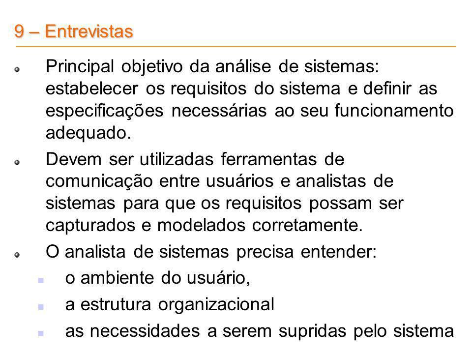Principal objetivo da análise de sistemas: estabelecer os requisitos do sistema e definir as especificações necessárias ao seu funcionamento adequado.