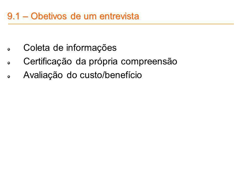 9.1 – Obetivos de um entrevista Coleta de informações Certificação da própria compreensão Avaliação do custo/benefício