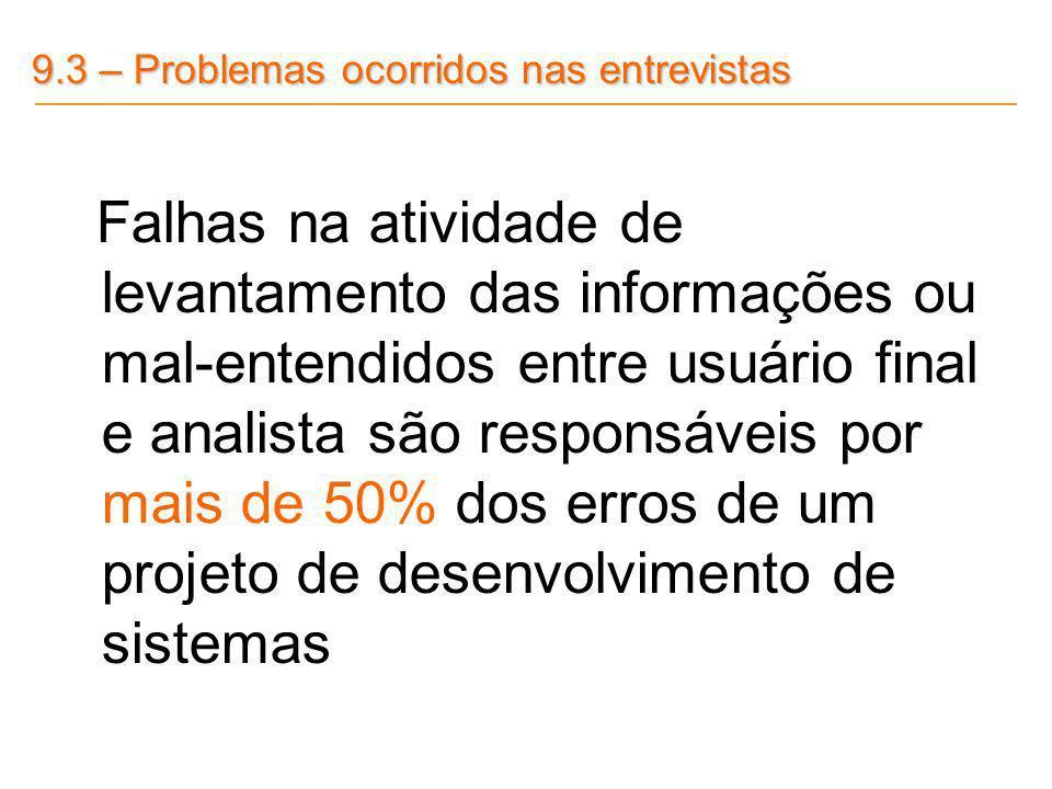 9.3 – Problemas ocorridos nas entrevistas Falhas na atividade de levantamento das informações ou mal-entendidos entre usuário final e analista são res