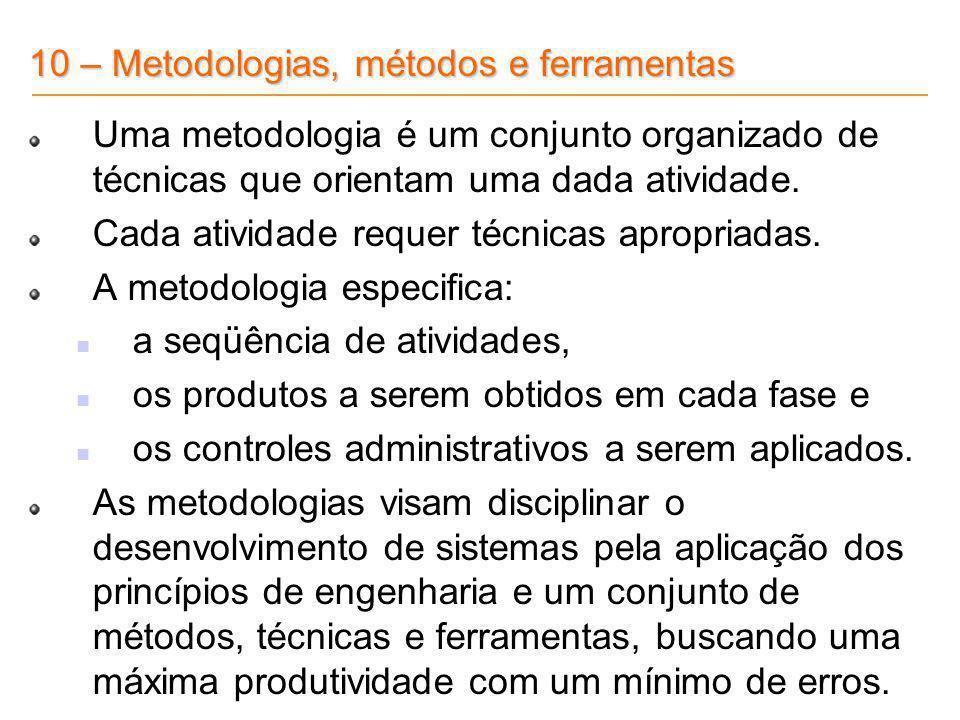 10 – Metodologias, métodos e ferramentas Uma metodologia é um conjunto organizado de técnicas que orientam uma dada atividade. Cada atividade requer t
